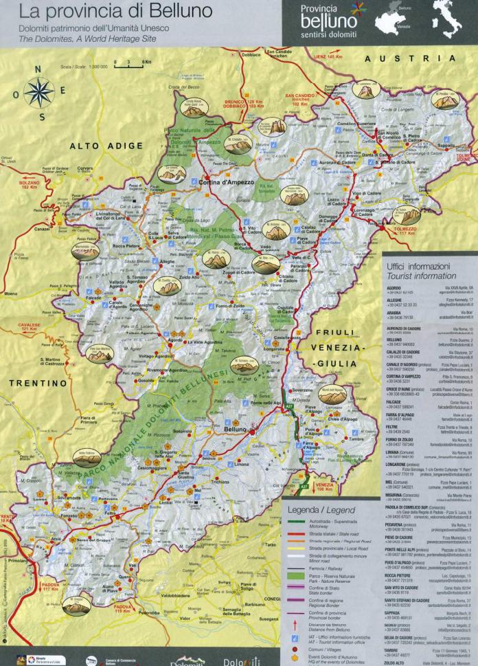 Cartina Dolomiti Bellunesi.To Visit B B Stella Alpina